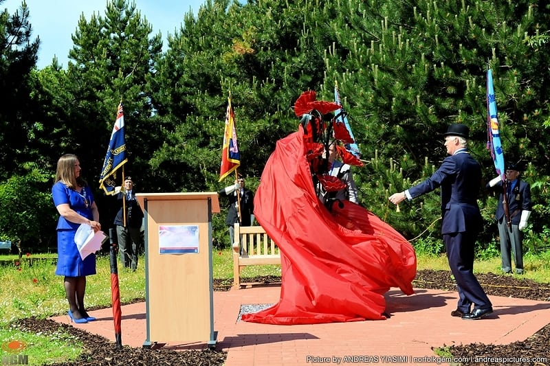 Unveiling of poppy sculpture at NNDC cromer