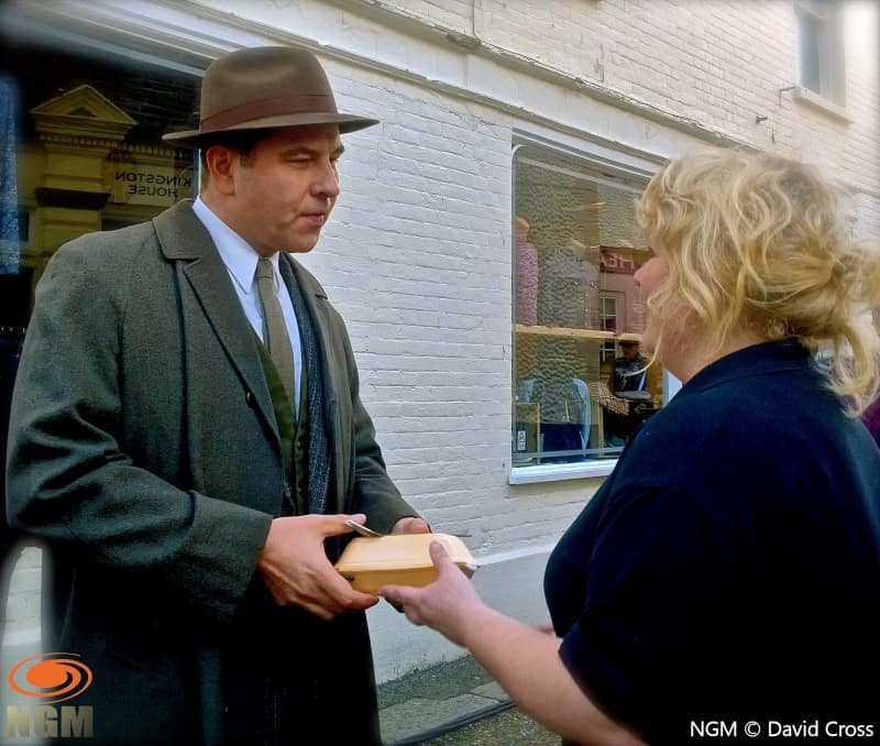 David Walliams receives a take-away meal from Breakers in Cromer